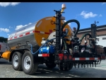 Tack Distributor STRATOS DMT-1000 by PavementGroup shown with 8' spray bar, 50' hose and applicator wand, No CDL required